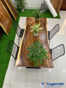 bàn ăn gỗ me tây nguyên tấm 6 người ngồi