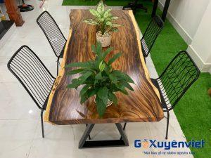 bàn ăn 6 người ngồi gỗ me tây nguyên tấm