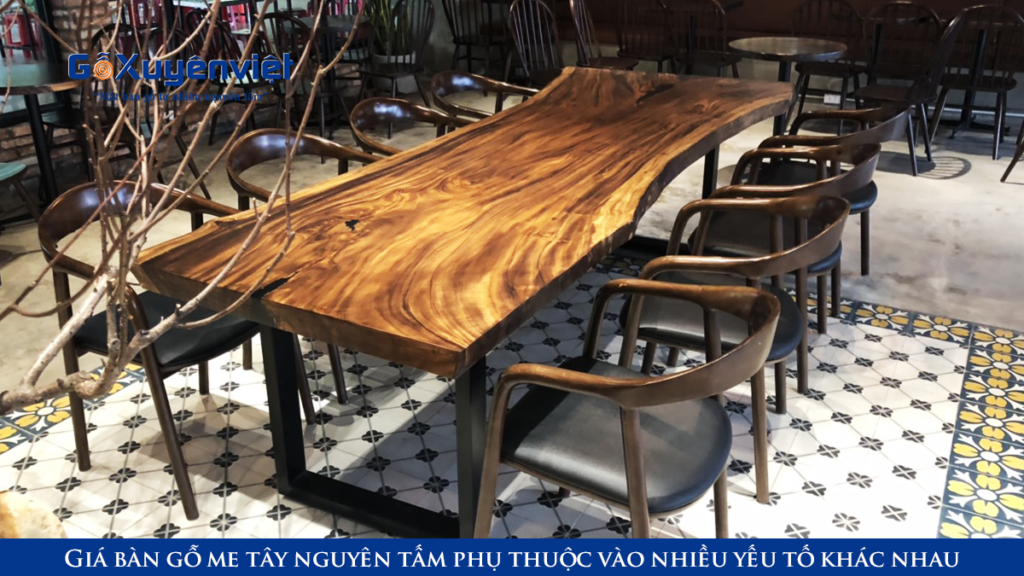 bàn gỗ me tây cà phê nguyên tấm dài