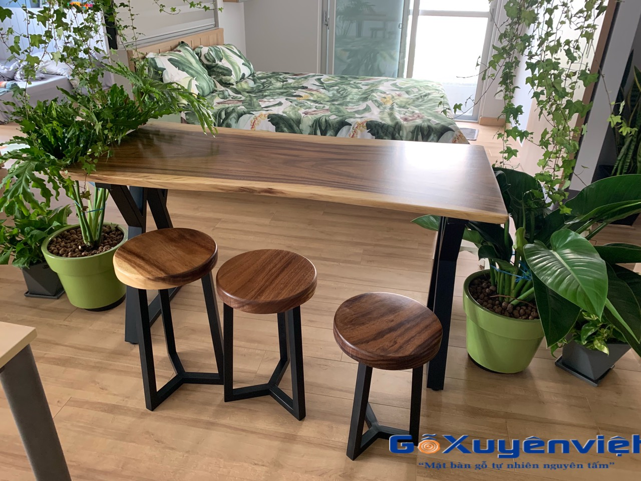 bàn gỗ me tây nguyên tấm chân w