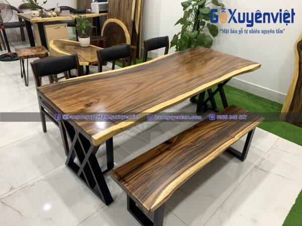 bàn gỗ me tây nguyên khối