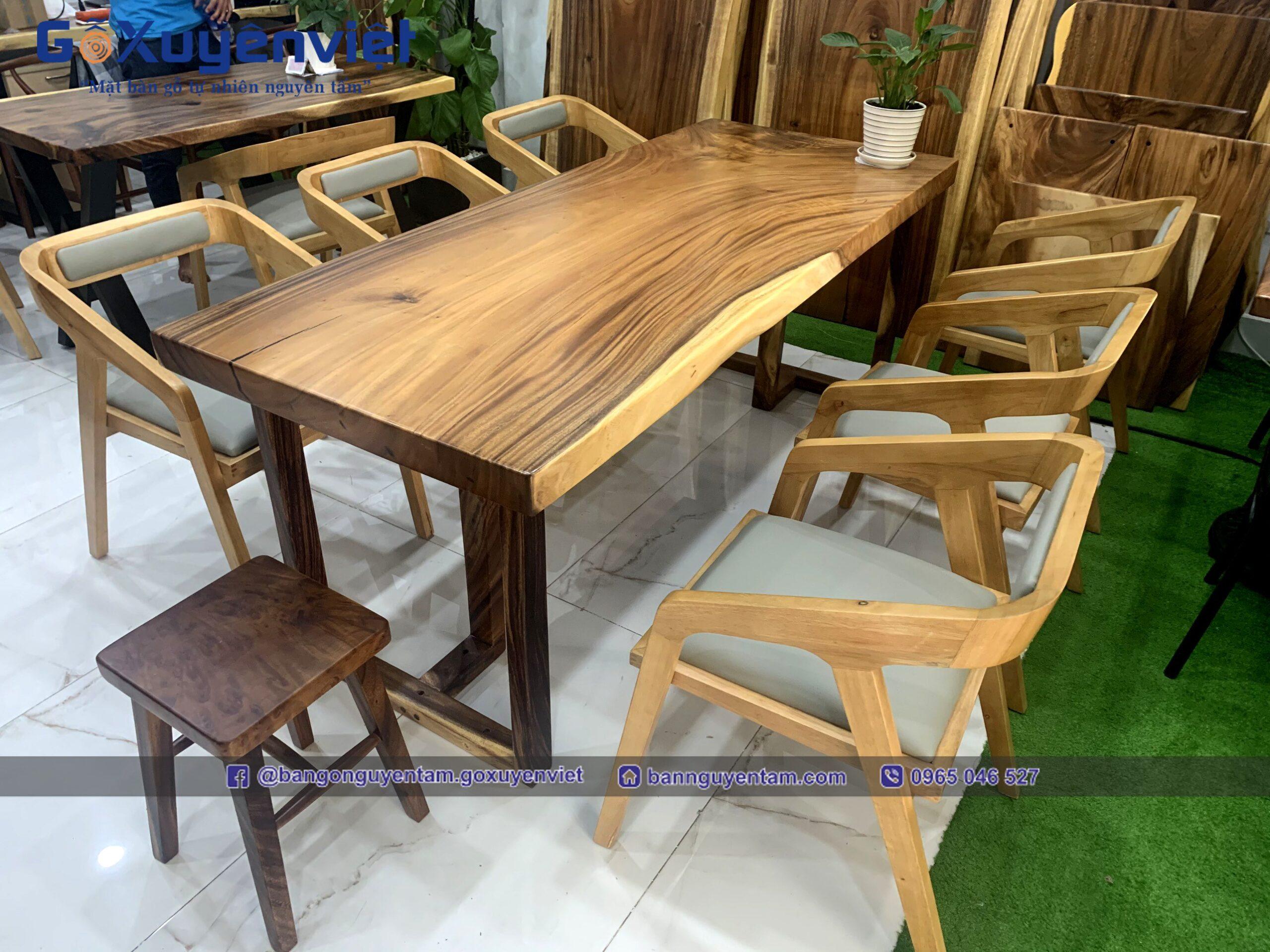 bàn ghế gỗ me tây nguyên tấm
