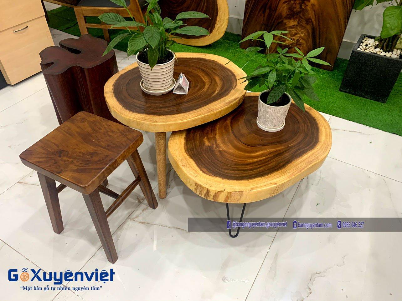 bàn tròn gỗ me tây